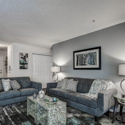 A living room with a light grey accent wall.
