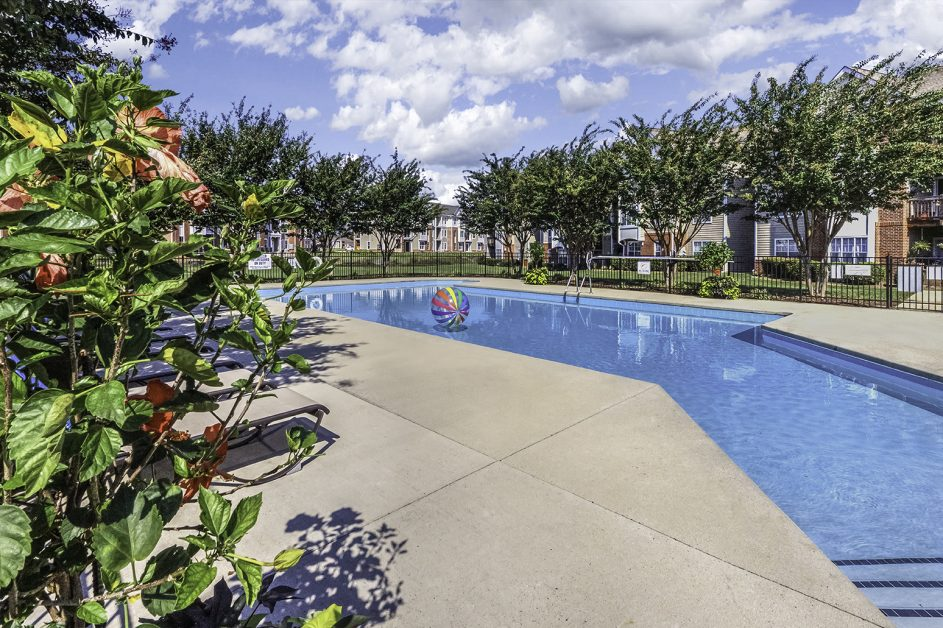 A picture of the beautiful, tree-lined pool at the Riverwalk Apartments