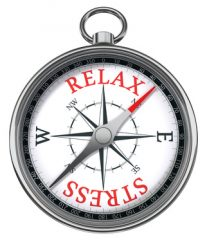 photo of compass, relax vs. stress