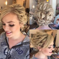 A bride's finished updo and makeup - Riverspointe Spa