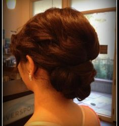 A bride with curly updo - Riverspointe Spa