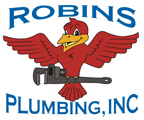 "Robins Plumbing logo with phrase ""Finally! A Plumber You Can Trust 24 Hours A Day"" for blog ""What Makes a Great Plumber?"""