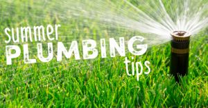 "Automated sprinkler shooting out water with caption ""Summer Plumbing Tips"" for blog ""Summer Plumbing Tips"""