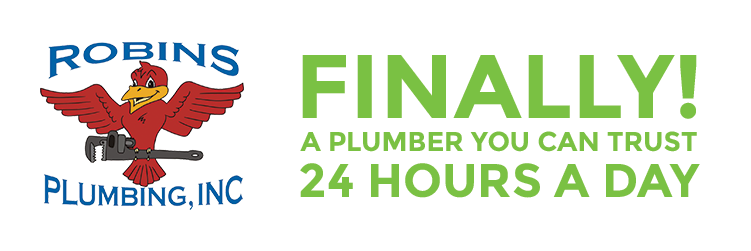 """Robins Plumbing logo with phrase """"Finally! A Plumber You Can Trust 24 Hours A Day"""" for blog """"What Makes a Great Plumber?"""""""