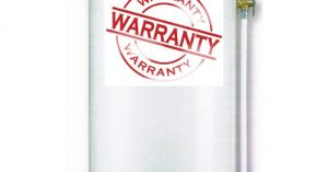 """Water Heater with warranty sticker on the front of it for blog """"Water Heater Warranty"""""""