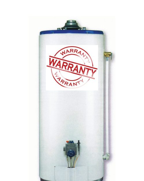 "Water Heater with warranty sticker on the front of it for blog ""Water Heater Warranty"""