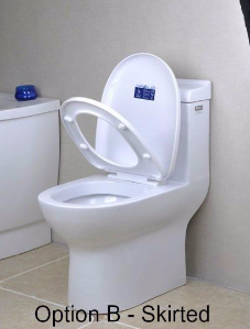 Skirted, white porcelain toilet