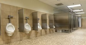 "Urinals and stalls in commercial setting for blog ""Commercial Emergency Plumbers"""
