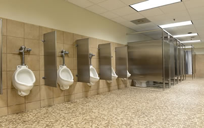 """Urinals and stalls in commercial setting for blog """"Commercial Emergency Plumbers"""""""