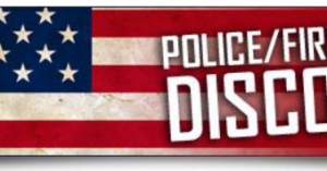 American flag with text Police, Fire, Military Discounts