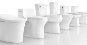 6 porcelain toilets line up, all different styles/options
