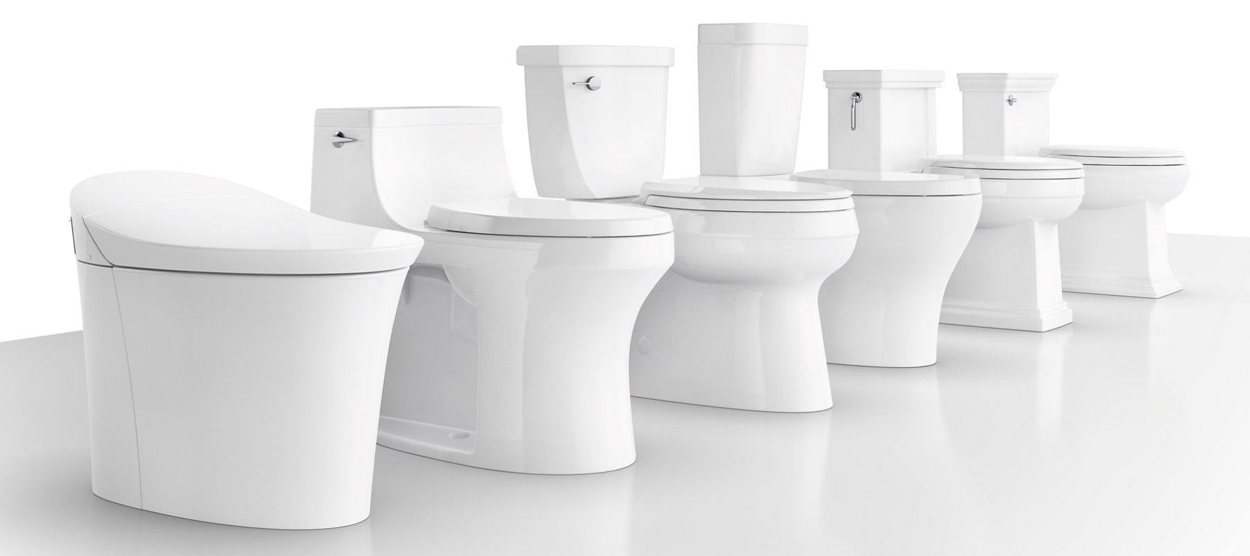 6 toilets line up, all different styles/options