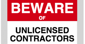 """Graphic for blog that reads """"Beware of Unlicensed Contractors"""""""