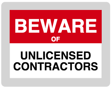 "Graphic for blog that reads ""Beware of Unlicensed Contractors"""