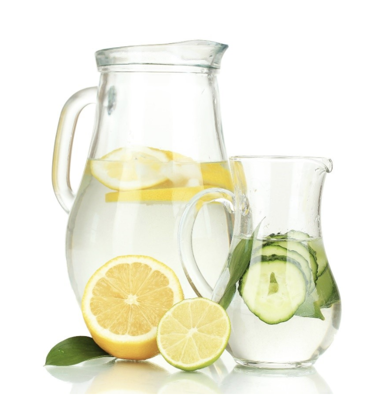 Two pitchers of water with citrus wedges cut up in them