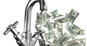 """Cover image of kitchen faucet pouring out money for blog """"Do You Have a High Water Bill?"""""""