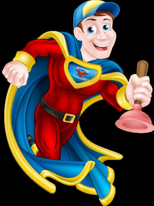 Robins Plumbing super hero plumber graphic