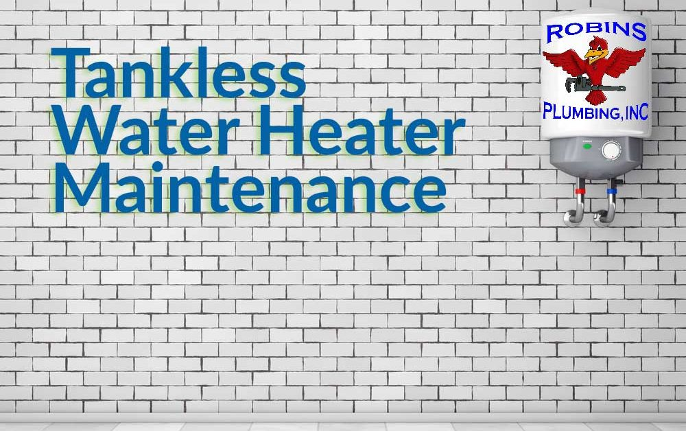 "Cover image of a tankless water heater unit on a brick wall for blog ""Tankless Water Heater Maintenance"""
