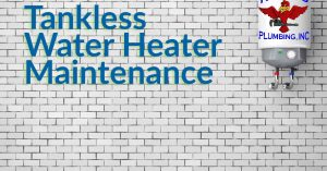 """Cover image of a tankless water heater unit on a brick wall for blog """"Tankless Water Heater Maintenance"""""""