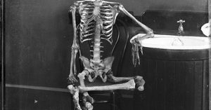 """cover image of a skeleton waiting for the plumber for blog """"Don't Wait All Day for a Plumber"""""""