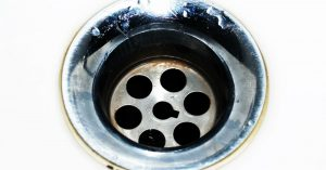 Closeup of a kitchen drain