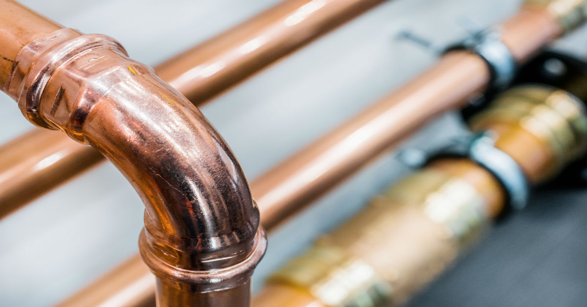 Closeup of interconnected copper pipes