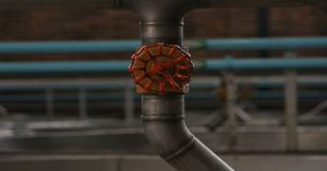 Closeup of a red circular handle on a pipe