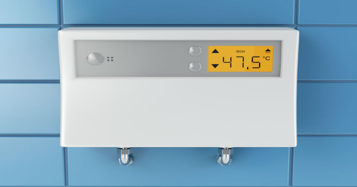 A tankless water heater control panel - Robins Plumbing, Inc.