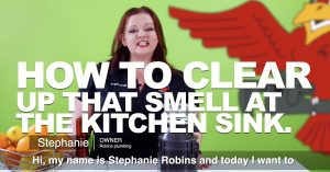 "Cover photo for blog and video ""How to Clear Up That Smell at the Kitchen Sink"""
