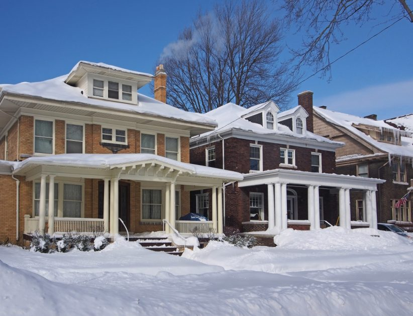 Side by Side Homes With Winter Snow