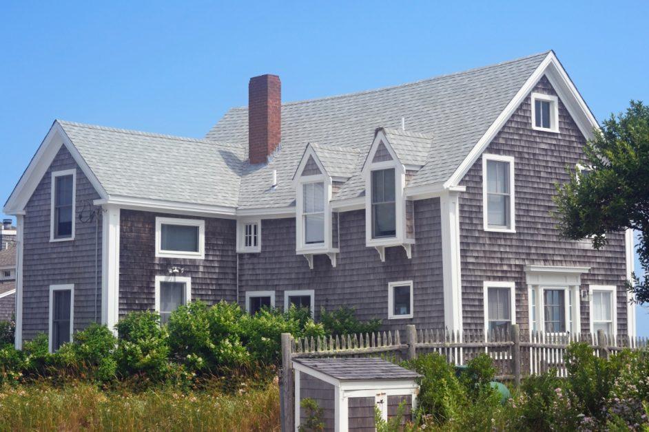 Home With Wood Shake Siding and Shingle Roof