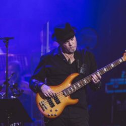 Bassist Mat Fieldes playing with Rocktopia, a show that blends the best classic rock with opera and classical.
