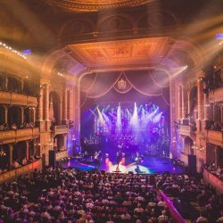 An opera house where Rocktopia's blend of classical, opera, and the best of classic rock is performed.