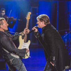 Singer Rob Evan and guitarist Tony Bruno on stage with the best of classic rock and classical music concert Rocktopia.