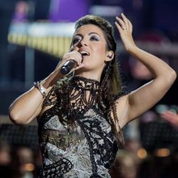 Opera singer Ximena Borges performing with Rocktopia.