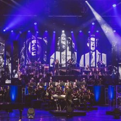 The orchestra and stage for Rocktopia, the classic rock and opera concert spectacular!
