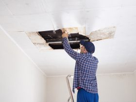 local roofing company professional assessing damage behind stained ceiling panels