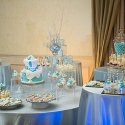 Detailed blue and white desserts at event at Royal Palace Ballrooms