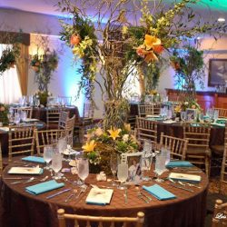 Brown and blue set table at an event at Royal Palace Ballrooms