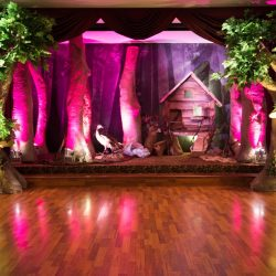 The dance floor at a tropical themed event at Royal Palace Ballrooms
