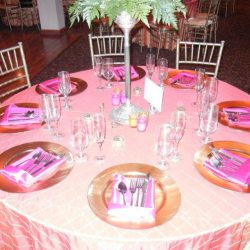 A themed set table at an event at Royal Palace Ballrooms