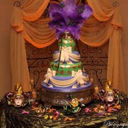 A Mardi Gras themed cake at an event at Royal Palace Ballrooms