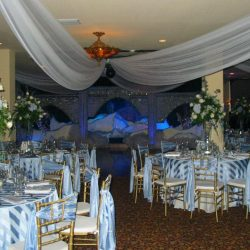 Winter themed tabled at an event venue at Royal Palace Ballrooms
