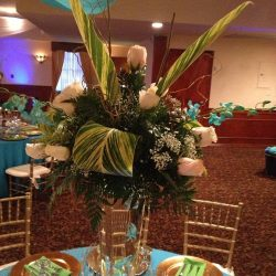 Flower arrangement at an event at Royal Palace Ballrooms
