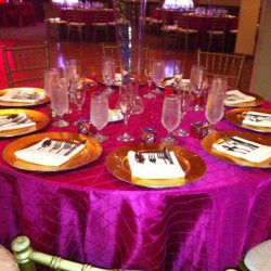 Immaculately set table at an event at Royal Palace Ballrooms