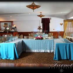 Blue and silver tables at an event at Royal Palace Ballrooms