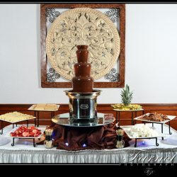 Chocolate fountain on dessert table at event at Royal Palace Ballrooms