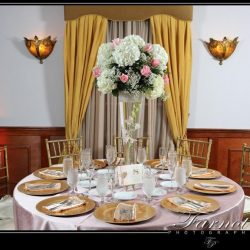 Beautifully set table at a wedding at Royal Palace Ballrooms