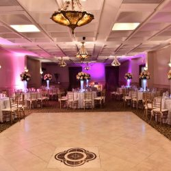 A banquet hall at Royal Palace Ballrooms for weddings