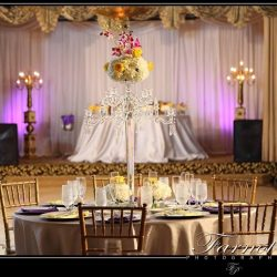 Intricate flower arrangement at a Royal Palace Ballrooms event